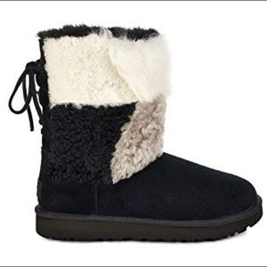 Ugg classic patchwork fluff boots nwt